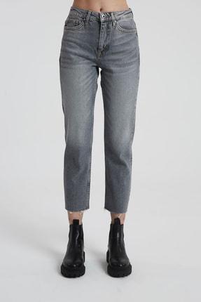 CROSS JEANS Elıza Cropped Gri Paçası Kesikli Straight Cropped Fit Jean Pantolon 1