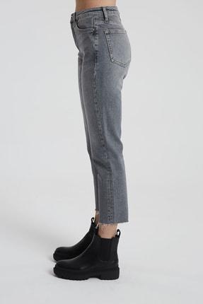 CROSS JEANS Elıza Cropped Gri Paçası Kesikli Straight Cropped Fit Jean Pantolon 2