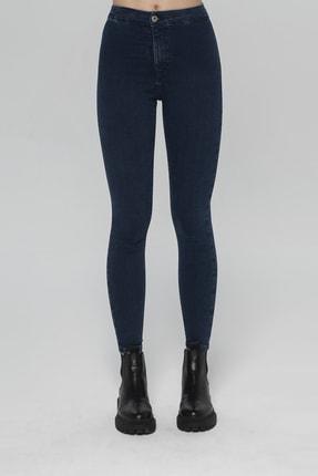 CROSS JEANS Janıe Koyu Mavi Yüksek Bel Önü Cepsiz Jegging Jean Pantolon 1