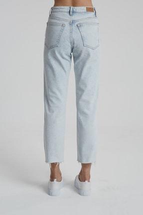 CROSS JEANS Elıza Cropped Ağartmalı Indigo Paçası Kesikli Straight Fit Jean Pantolon 3