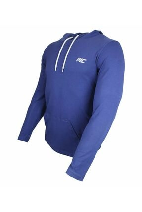 MUSCLECLOTH Training Kapüşonlu Uzun Kollu T-shirt Indigo Mavi - Xx-large 1
