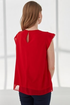 Journey Kadın Kırmızı Kayık Yaka, Ön Parça Detaylı, Volanlı Kısa Kol Bluz 1