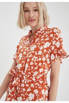 Defacto Kadın Kahve Volanlı Kol Detaylı Kuşaklı Gömlek Elbise 4