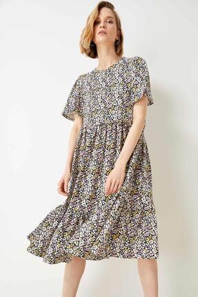 Defacto Kadın Bej Volan Detaylı Kelebek Kollu Elbise 2