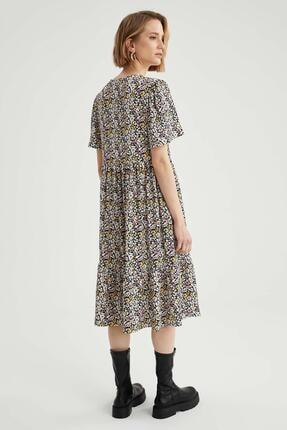 Defacto Kadın Bej Volan Detaylı Kelebek Kollu Elbise 4