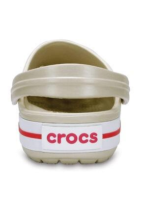 Crocs Bej Unisex Crocband Kenarı Kırmızı Beyaz Çizgili Terlik 3