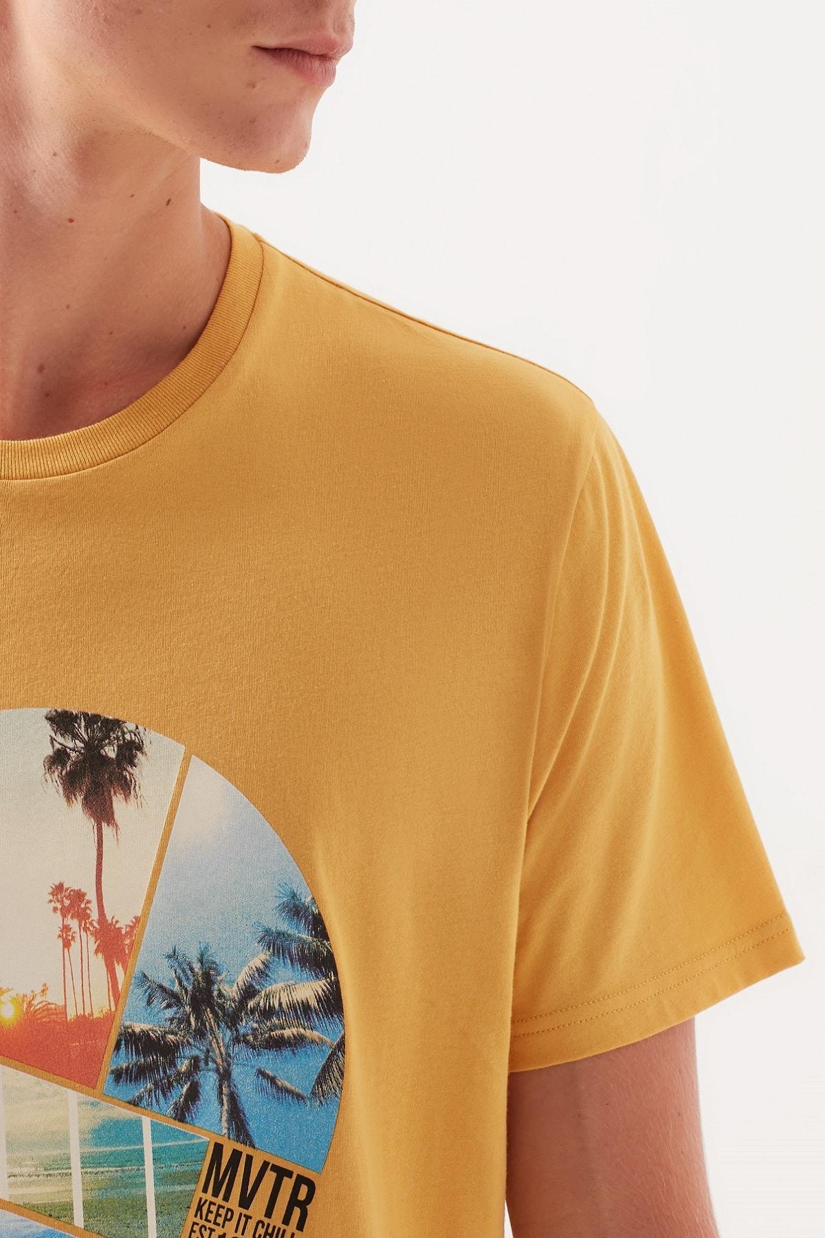 Mavi Baskılı Sarı Tişört