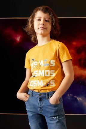 Defacto Erkek Çocuk Sarı Karanlıkta Parlayan Kısa Kol Tişört 0