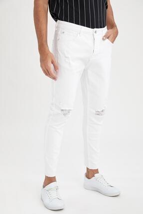 Carrot Fit Normal Bel Boru Paça Yırtık Detaylı Beyaz Jean Pantolon resmi