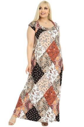 Picture of Büyük Beden Kare Yaka Sırt Detay Maxi Elbise