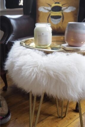 Zem Gigi Beyaz Peluş Gold Ayaklı Puf 3