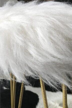 Zem Gigi Beyaz Peluş Gold Ayaklı Puf 4