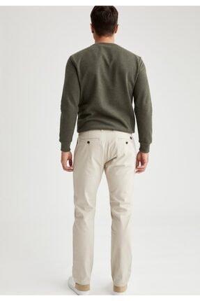Defacto Erkek Bej Regular Fit Basic Pamuklu Chino Pantolon 2