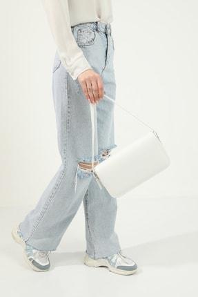 Petek Karnaval Kadın Beyaz Baguette Çanta 3