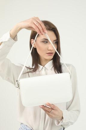 Petek Karnaval Kadın Beyaz Baguette Çanta 4