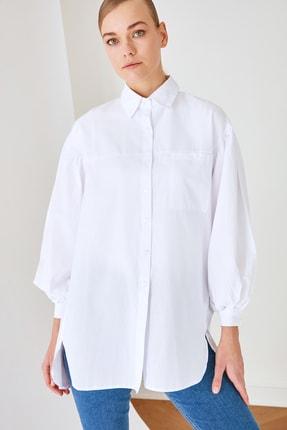 Trendyol Modest Beyaz Gömlek Yaka Tunik TCTSS21GO0976 0