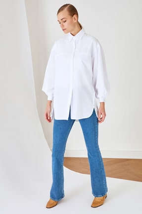 Trendyol Modest Beyaz Gömlek Yaka Tunik TCTSS21GO0976 1