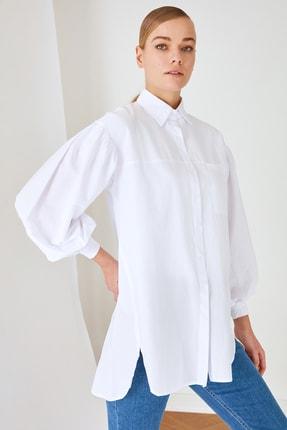 Trendyol Modest Beyaz Gömlek Yaka Tunik TCTSS21GO0976 2