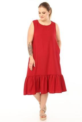Picture of Kadın Bordo Büyük Beden Kolsuz Elbise