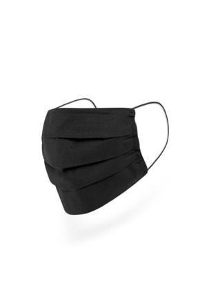 Mutlu Maske Konfor Serisi 3 Katlı Burun Telli Unisex Pamuklu Kumaş Siyah Renkli Yıkanabilir Maske 3'lü Paket 3