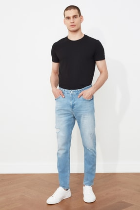 Picture of Açık Mavi Erkek Yırtık Detaylı Normal Bel Carrot Fit Jeans TMNSS21JE0287