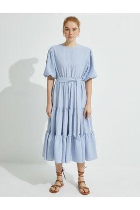 Koton Kadın  El Emegi İslemeli Çizgili Balon Kollu Elbise 2