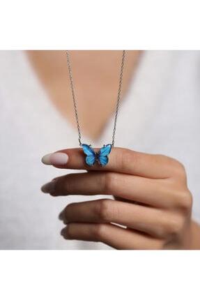 LAVERANZA 925 Ayar Gümüş Mavi Renk Kelebek Kolye 3