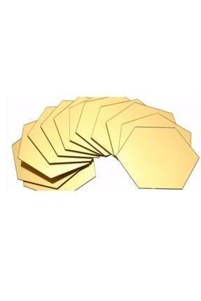 FERMAN HEDİYELİK Bal Peteği Gold Dekoratif Altıgen 12x Süs Akrilik Ayna 11x12,5cm Antre Duvar Pleksi Yapışkan Bantlı 1
