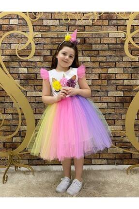 marvelous Kız Çocuk Renkli Doğum Günü Unicorn Elbisesi 0