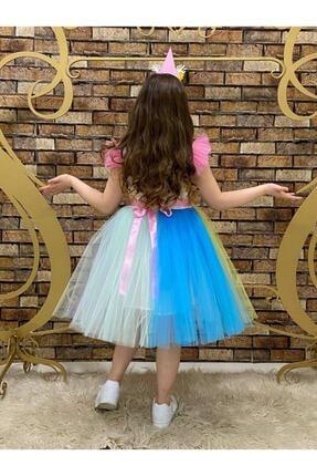 marvelous Kız Çocuk Renkli Doğum Günü Unicorn Elbisesi 1
