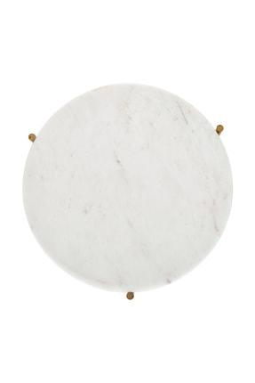 Fosil Mermer Nest Doğal Taş Mermer Zigon Sehpa Takımı (2'li) - Beyaz Mermer, Gold Ayak 4