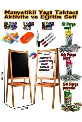 USF Manyetikli Çift Taraflı Ahşap Yazı Tahtası Seti Çocuk Eğitici Ve Eğitim Için Aktivite Yazı Tahtası 0