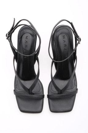 Marjin Kadın Parmak Arası Topuklu Sandalet Bitesiyah 4