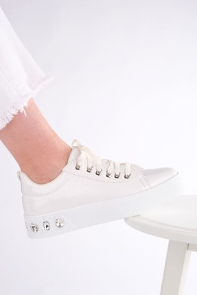 Marjin Kadın Kalın Taban Sneaker Spor Ayakkabı Aportebeyaz 3