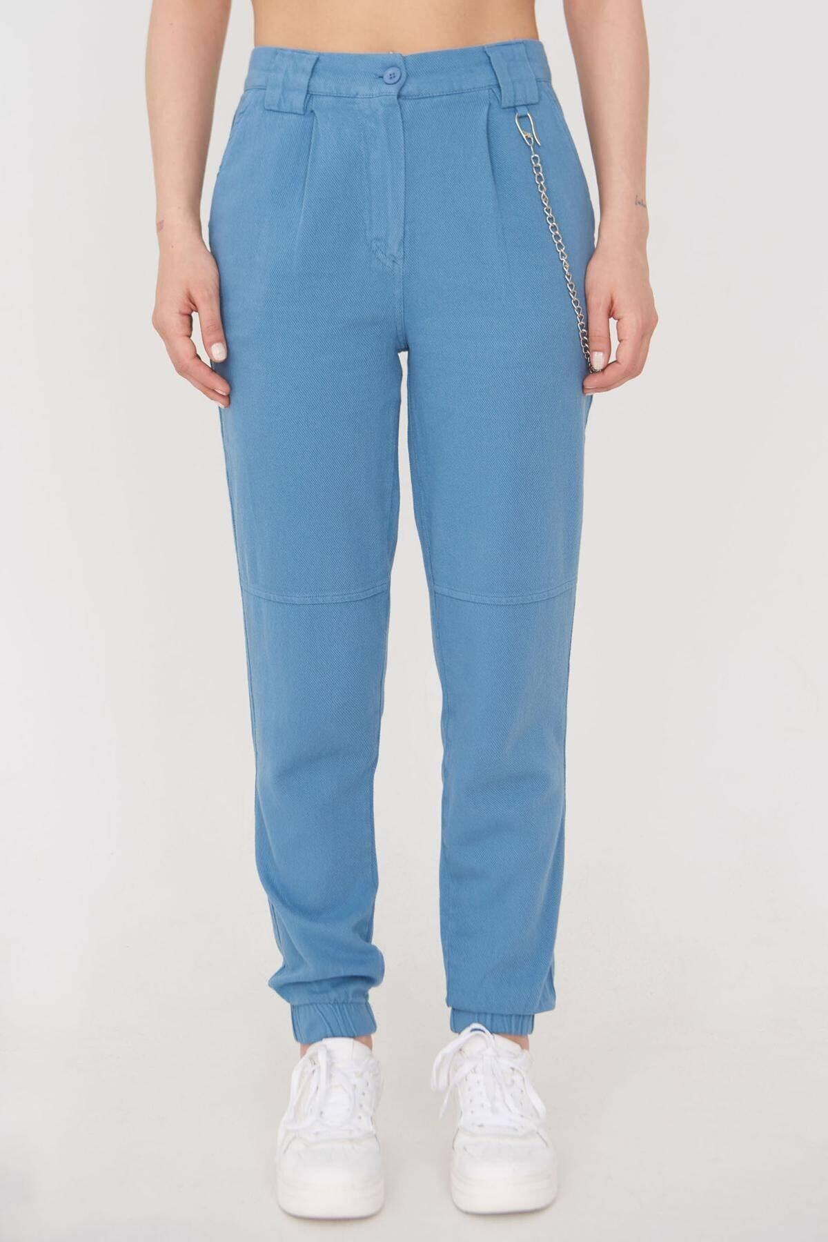 Addax Kadın Mavi Zincir Detaylı Pantolon Pn01-0073 - S11 Adx-0000024102 1