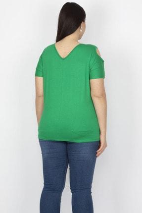 Şans Kadın Yeşil Omuz Dekolteli Viskon Bluz 65N22698 1