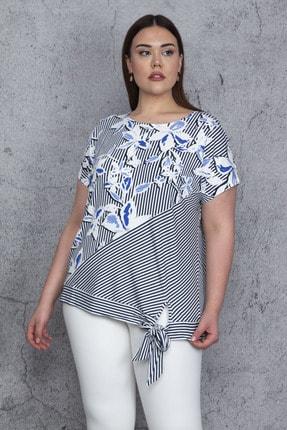 Şans Kadın Mavi Düşük Kol Bel Yan Bağlamalı Çizgi Ve Çiçek Baskılı Viskon Bluz 65N23844 1