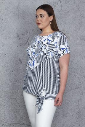 Şans Kadın Mavi Düşük Kol Bel Yan Bağlamalı Çizgi Ve Çiçek Baskılı Viskon Bluz 65N23844 3
