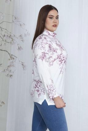 Şans Kadın Kemik Dik Yakalı Desenli Bluz 65N23710 2
