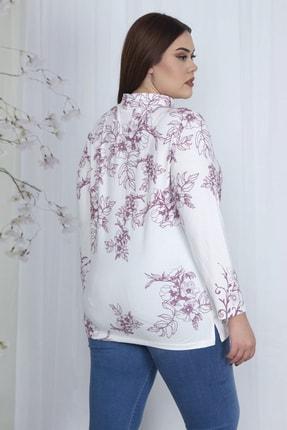 Şans Kadın Kemik Dik Yakalı Desenli Bluz 65N23710 3