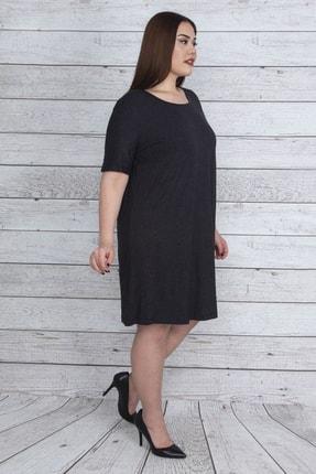 تصویر از Kadın Antrasit Kısa Kollu Viskon Tunik Elbise 65N23740