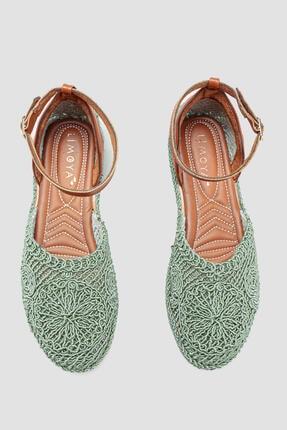 Limoya Kadın Yeşil Örgü Detaylı Triko Bilekten Baretli Sandalet 2