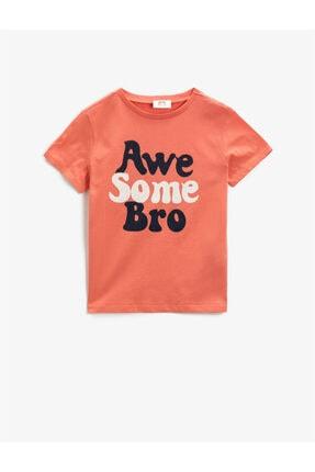 Koton Erkek Çocuk Turuncu Yazılı  Kısa Kollu Bisiklet Yaka Pamuklu T-Shirt 0
