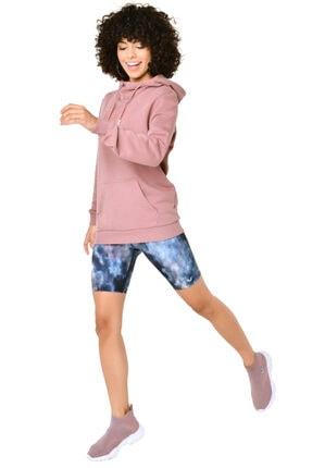 bilcee Kadın Pembe Kapüşonlu Sweatshirt Iw-9041 4