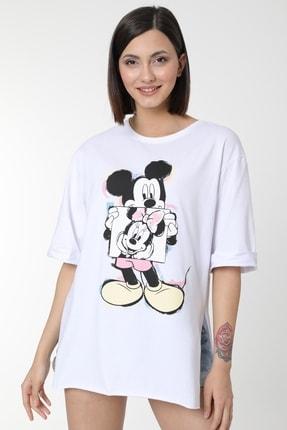 MD trend Kadın Beyaz Mickey Baskılı Yırtmaçlı Pamuklu Basic T-shirt 1