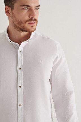 Avva Erkek Beyaz Düz Düğmeli Yaka Regular Fit Gömlek A11y2026 1