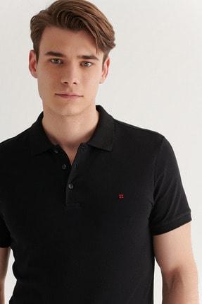 Avva Avva Erkek Siyah Polo Yaka Düz T-Shirt E001004 2