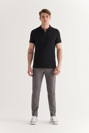 Avva Avva Erkek Siyah Polo Yaka Düz T-Shirt E001004 4
