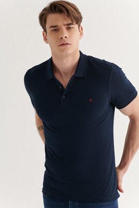 Avva Erkek Lacivert Polo Yaka Düz T-shirt E001004 1
