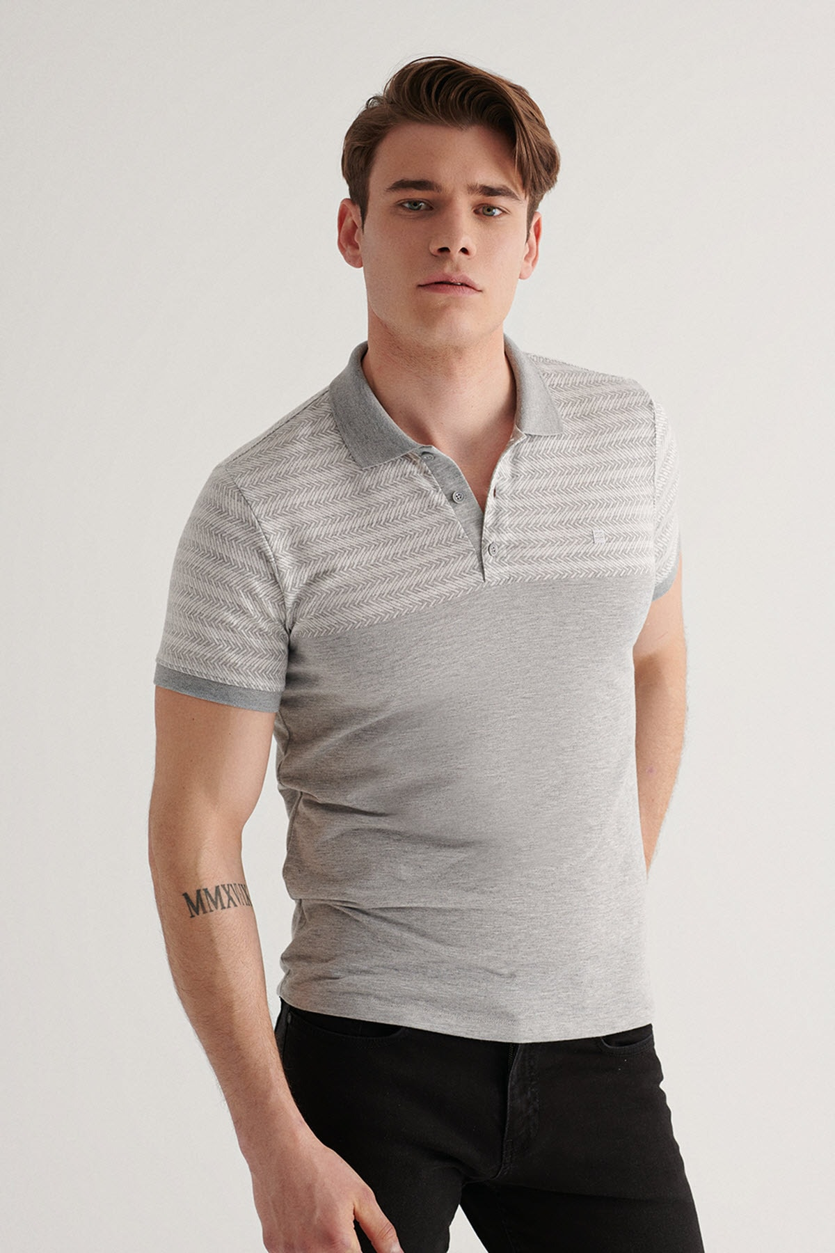 Erkek Gri Polo Yaka Jakarlı T-shirt A11y1080